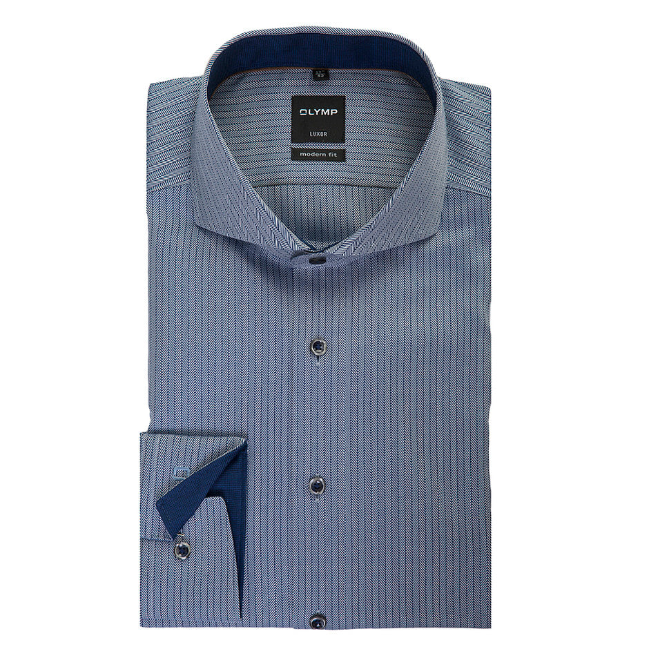 Luxor Formal Herringbone Shirt for Men in Blue