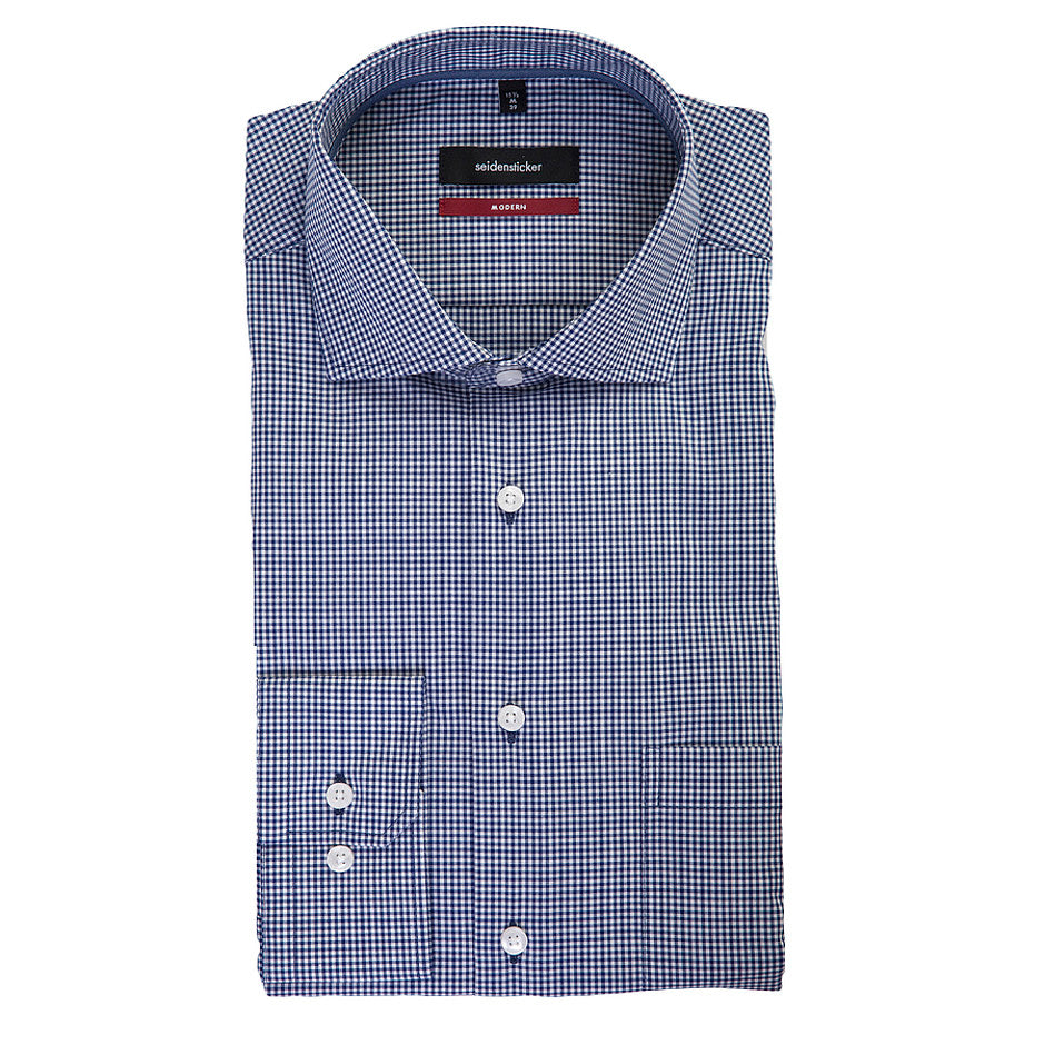 Modern Fit Formal Check Shirt for Men in Navy