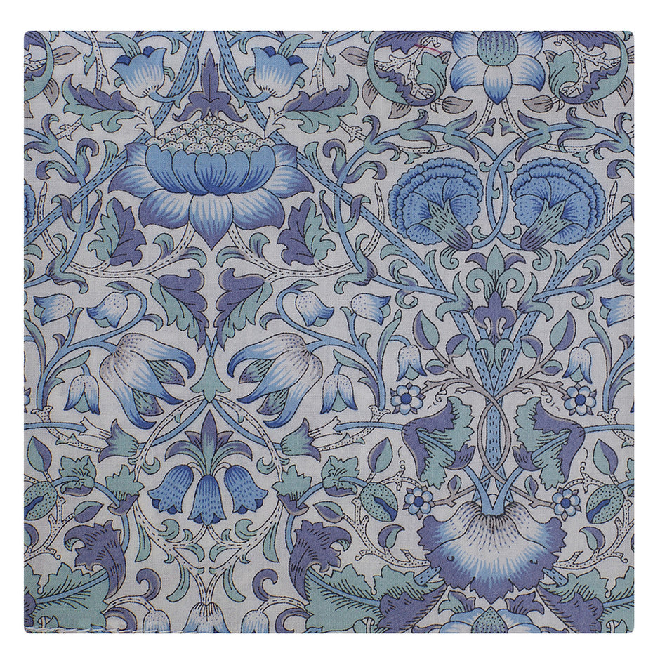Cotton Handkerchief Made from Liberty Fabric for Men in Blue
