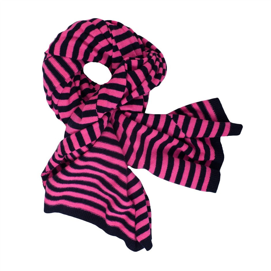 Luxurious Striped Scarf for Women in Pink & Navy