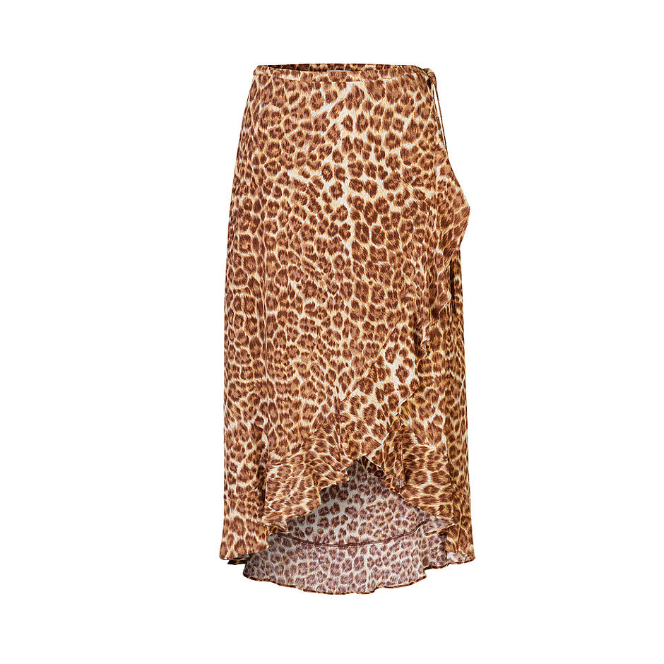 Limon Wrap Skirt for Women in Leopard