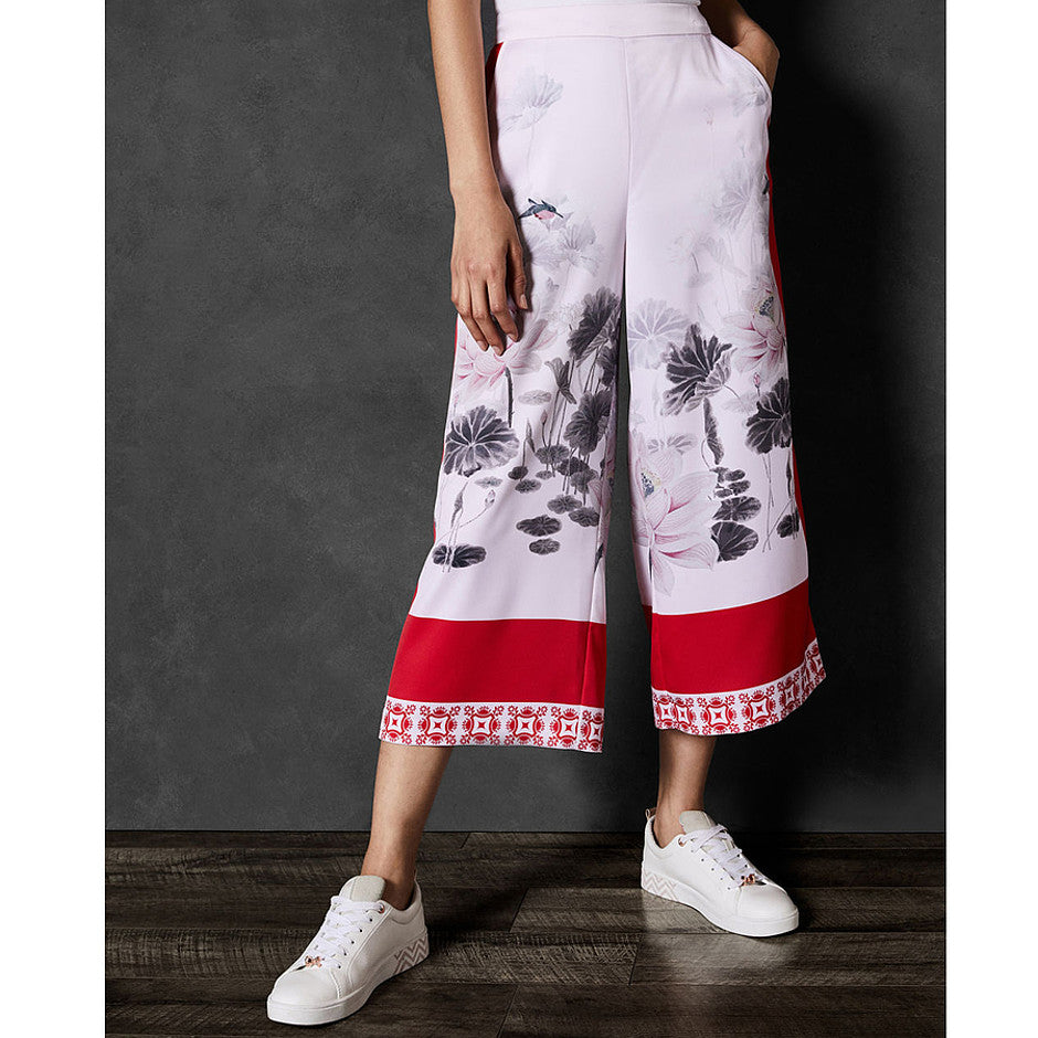 Alanya Lake Of Dreams Printed Culottes for Women in Pink
