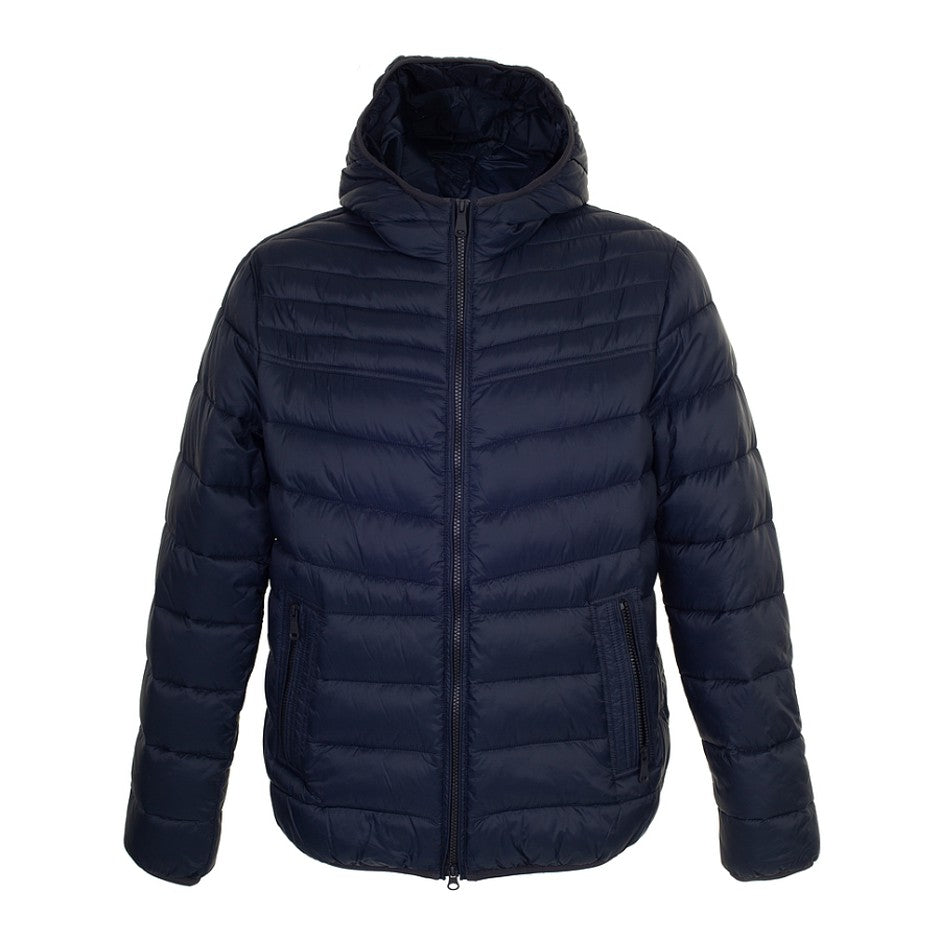 Quilted Coat with Hood for Men in Navy