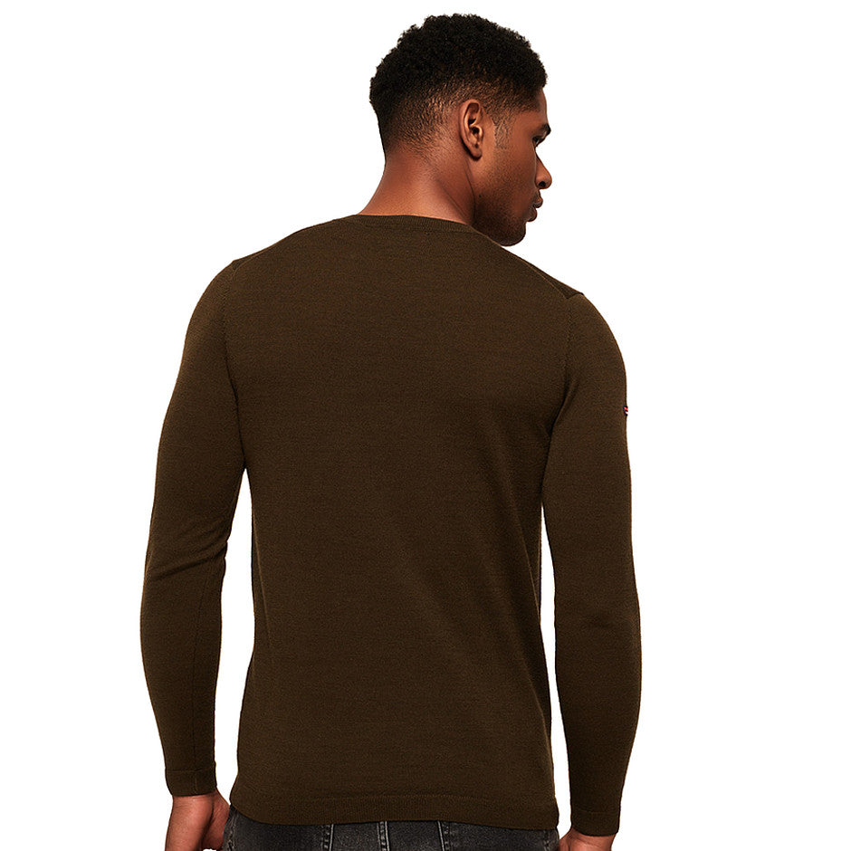 Merino Crew Neck Sweater for Men in Combat Green