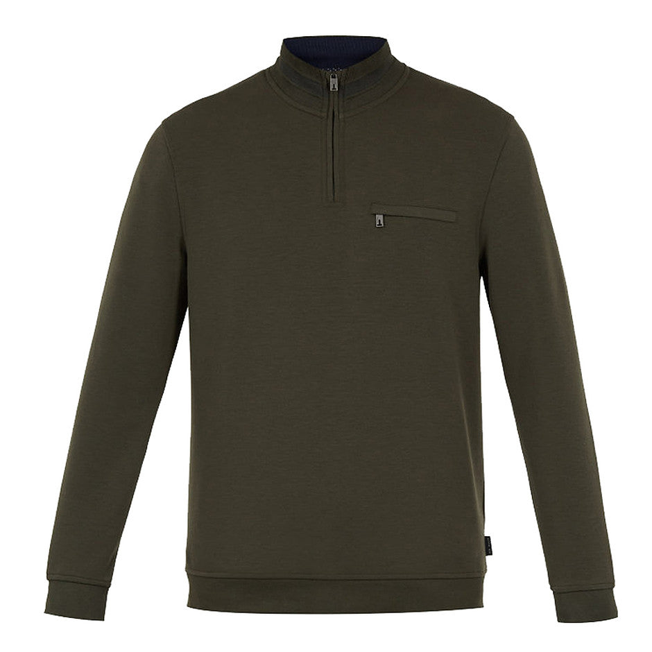 LEEVIT 1/4 Zip Sweater for Men in Olive