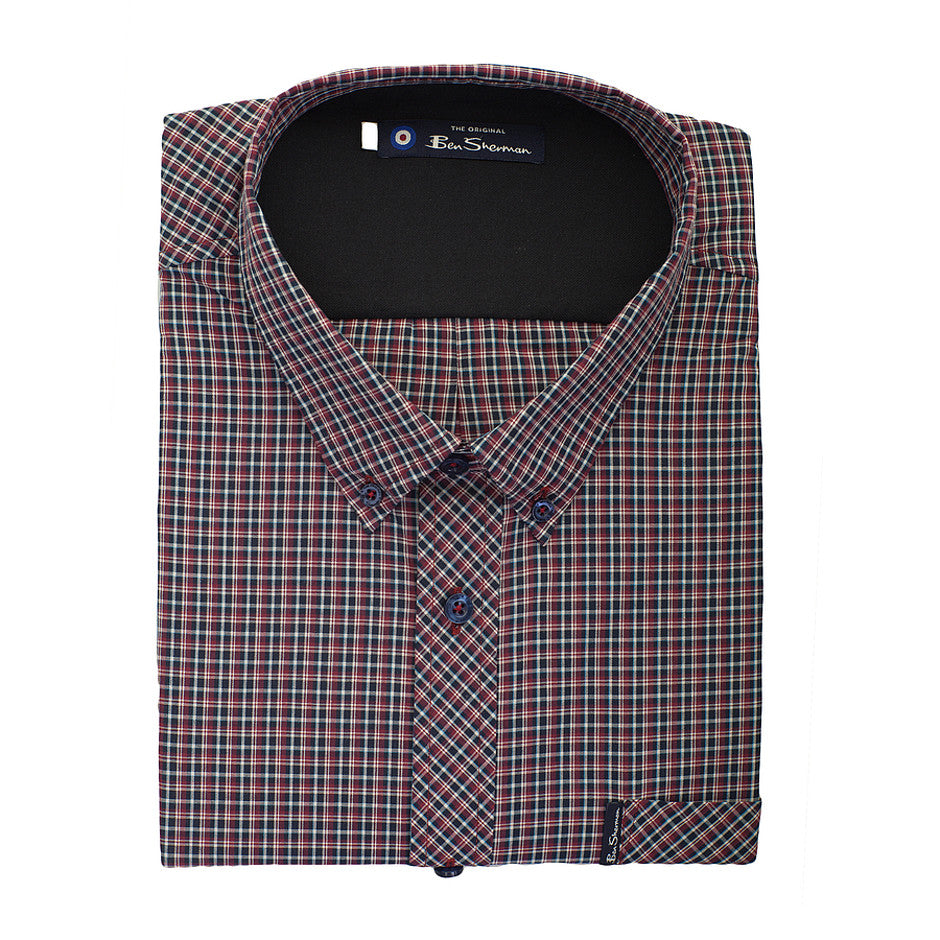 Small Check Long Sleeve Shirt for Men