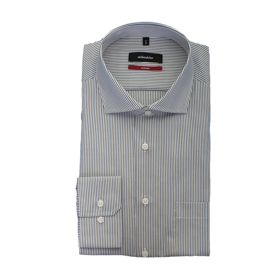 Modern Fit Formal Shirt for Men in Blue Stripe