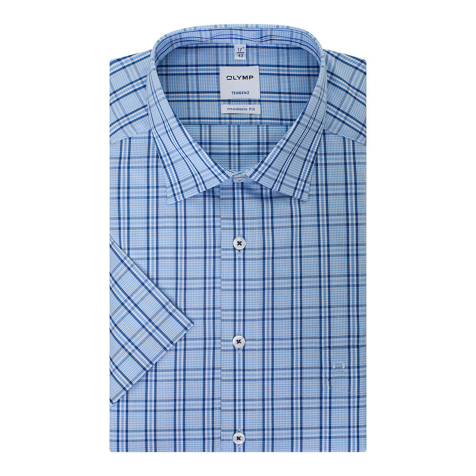 Tendenz Half Sleeve Check Shirt for Men in Blue