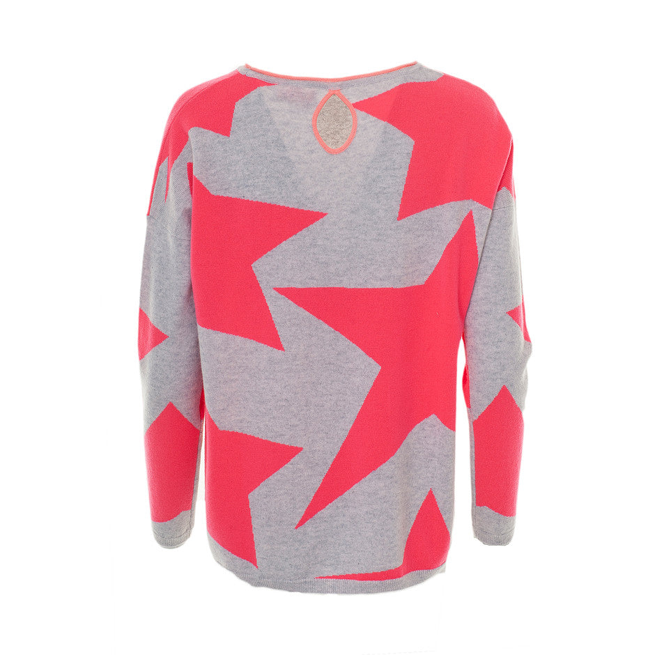 Toni Star Knit Jumper for Women in Grey, Pink & Coral