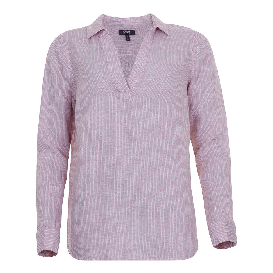 Linen Stripe Popover Tunic in Pink for Women