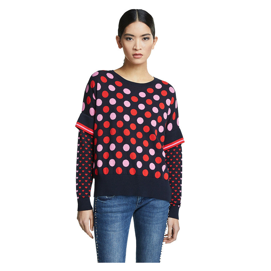 Poncho Look Jumper for Women in Dark Blue & Red