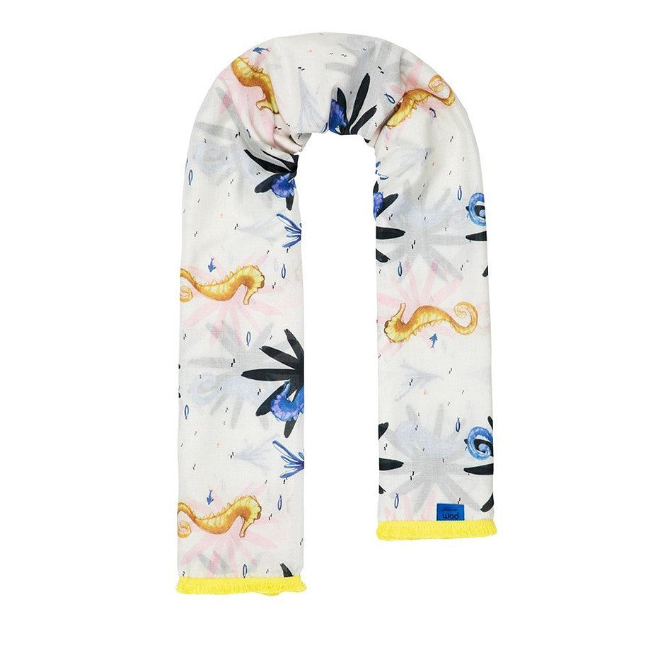 Ecru Scarf for Women in Seahorse Print