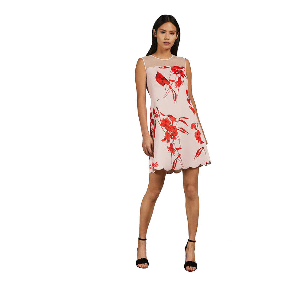 Jaazmin Fantasia Print Dress for Women in Blush Pink and Red