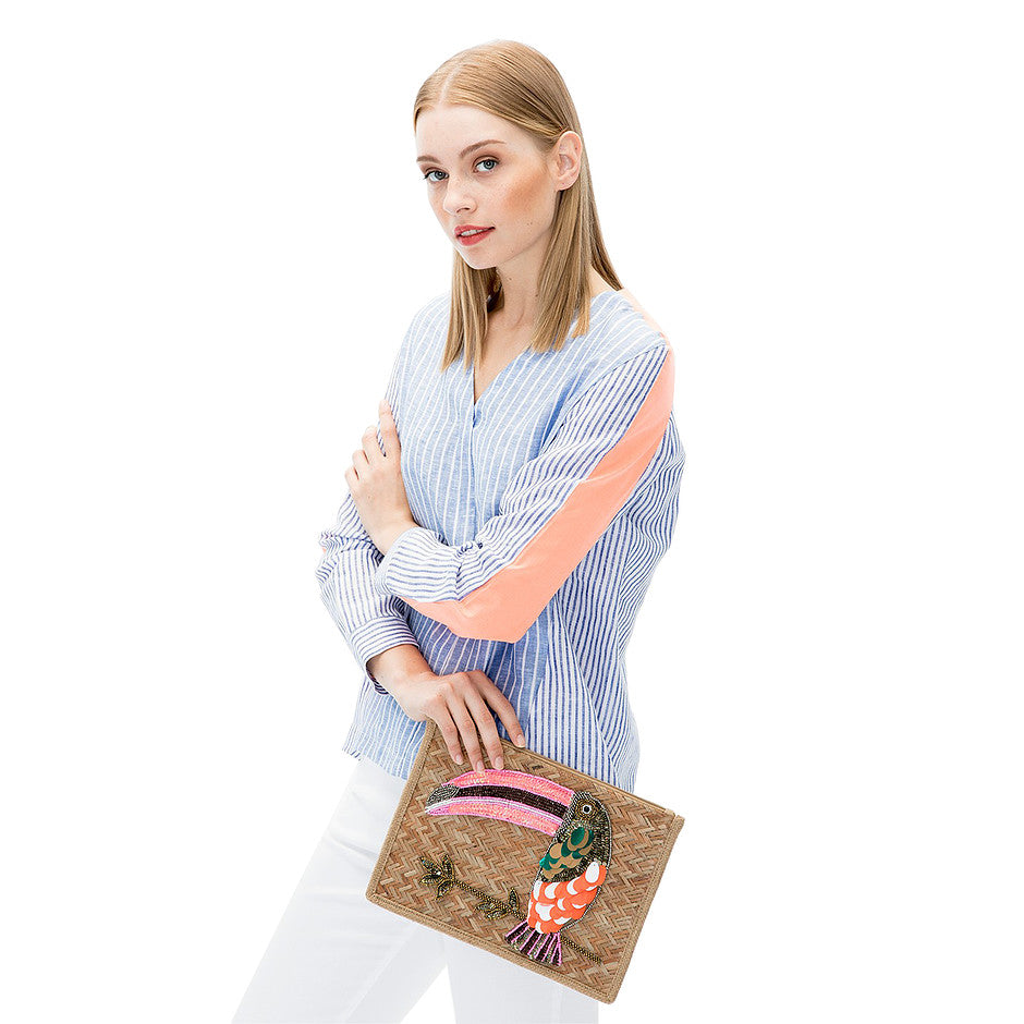 Toucan Embroidered Clutch for Women in Brown