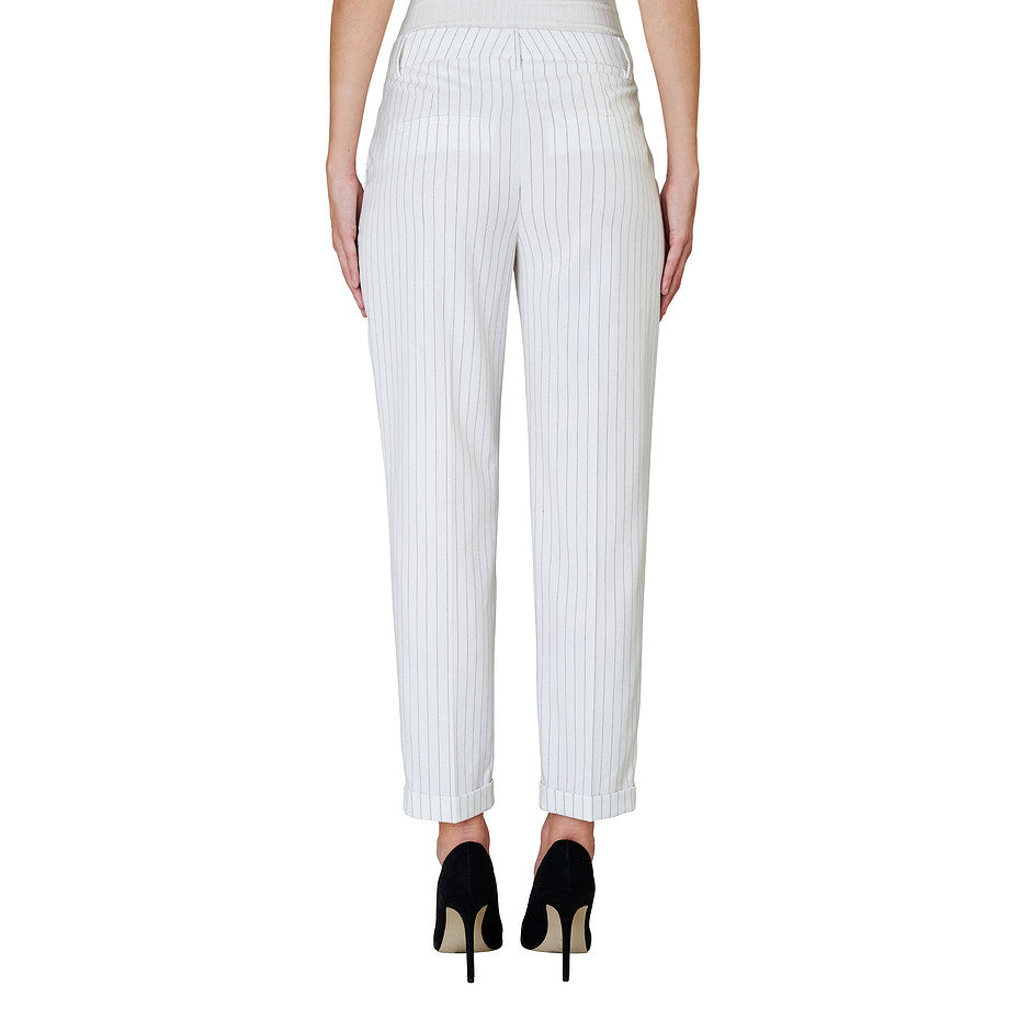 Aura Flex Striped Trousers for Women in Black and White