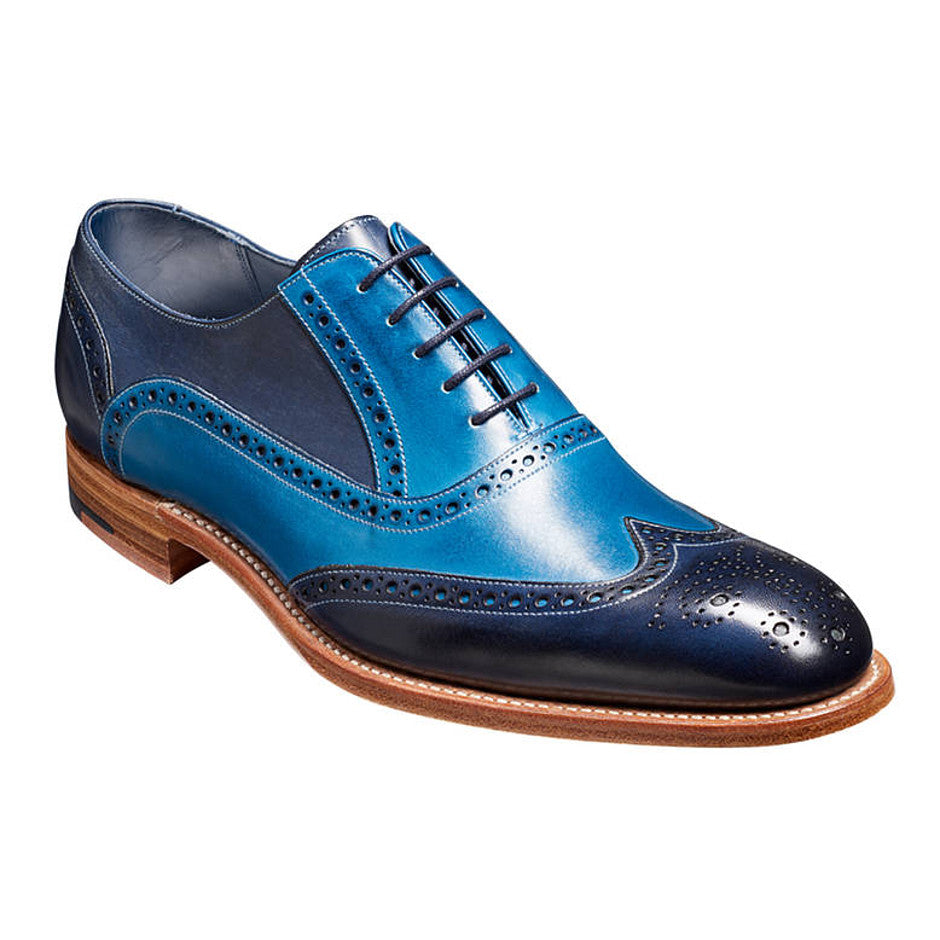 Valiant Hand-painted Leather Brogue for Men in Navy and Blue