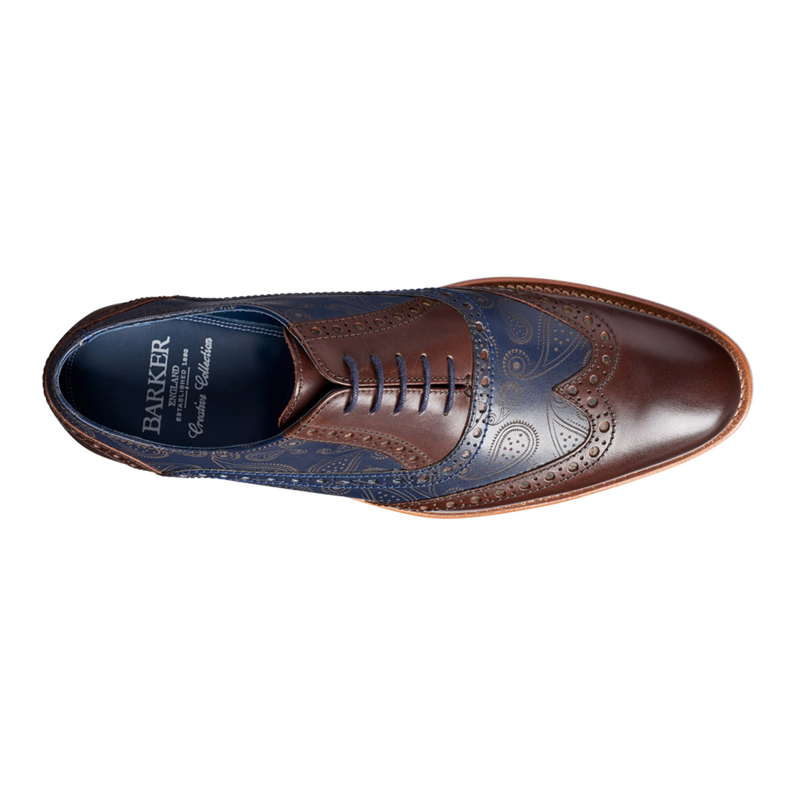 Grant Paisley Hand-painted Leather Brogue for Men in in Walnut and Navy