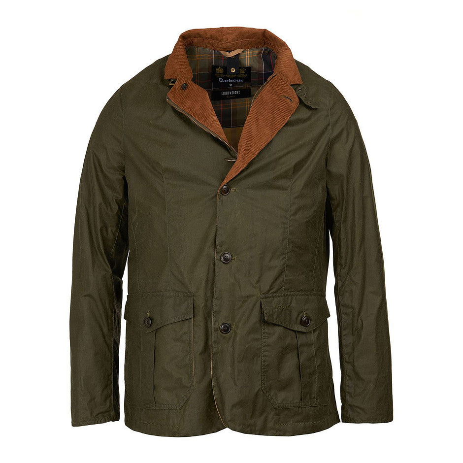 Lightweight Sander Waxed Cotton Jacket for Men in Archive Olive