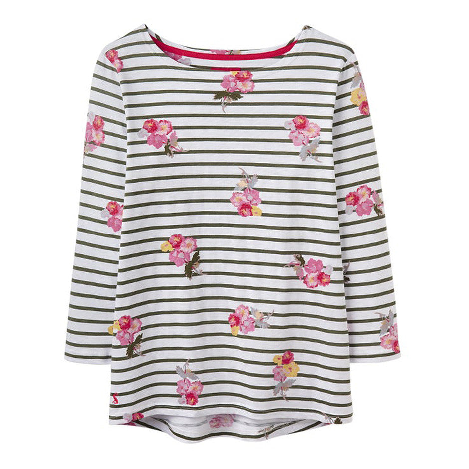 Posy Print Harbour Light Top for Women in Khaki Stripe