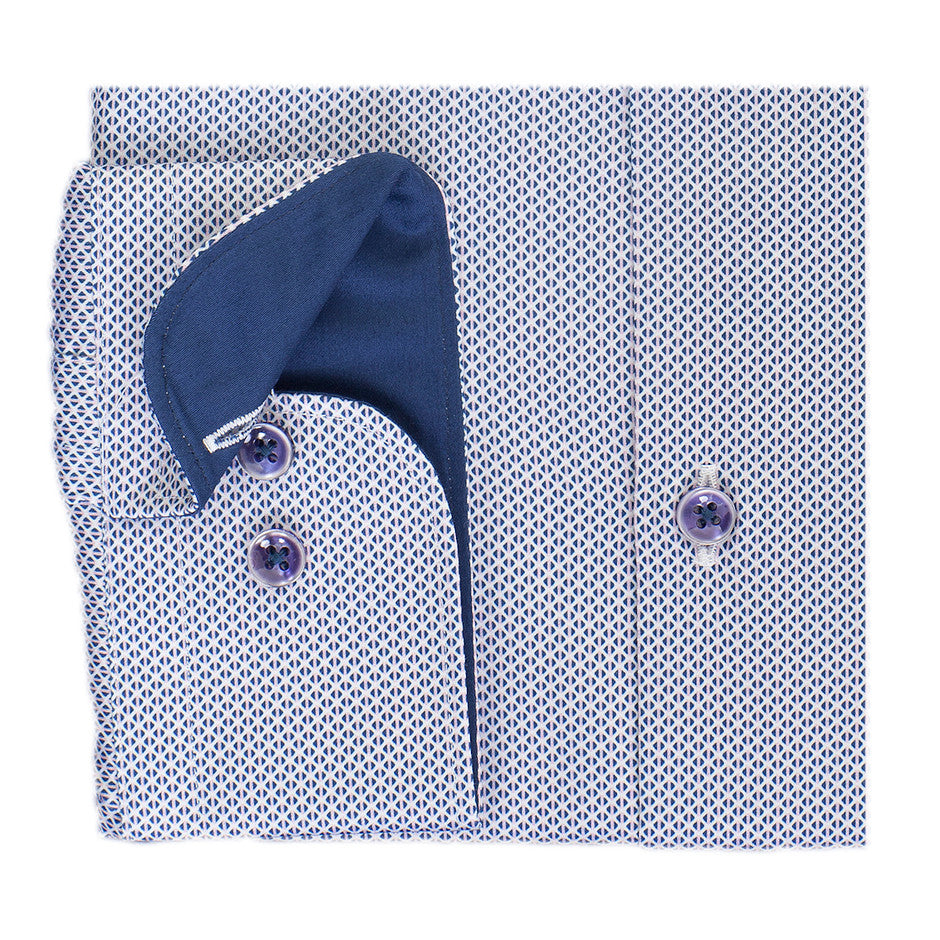 Geometric Patterned Shirt for Men in Blue