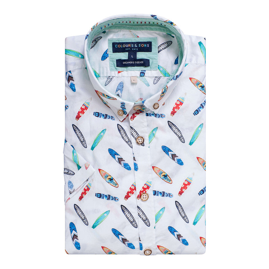 Shorty Surfboard Shirt for Men in White