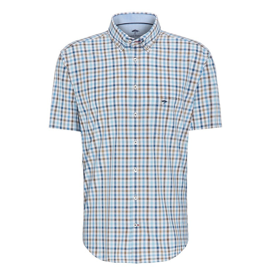 Short Sleeve Multi Colour Check Shirt for Men in Brown
