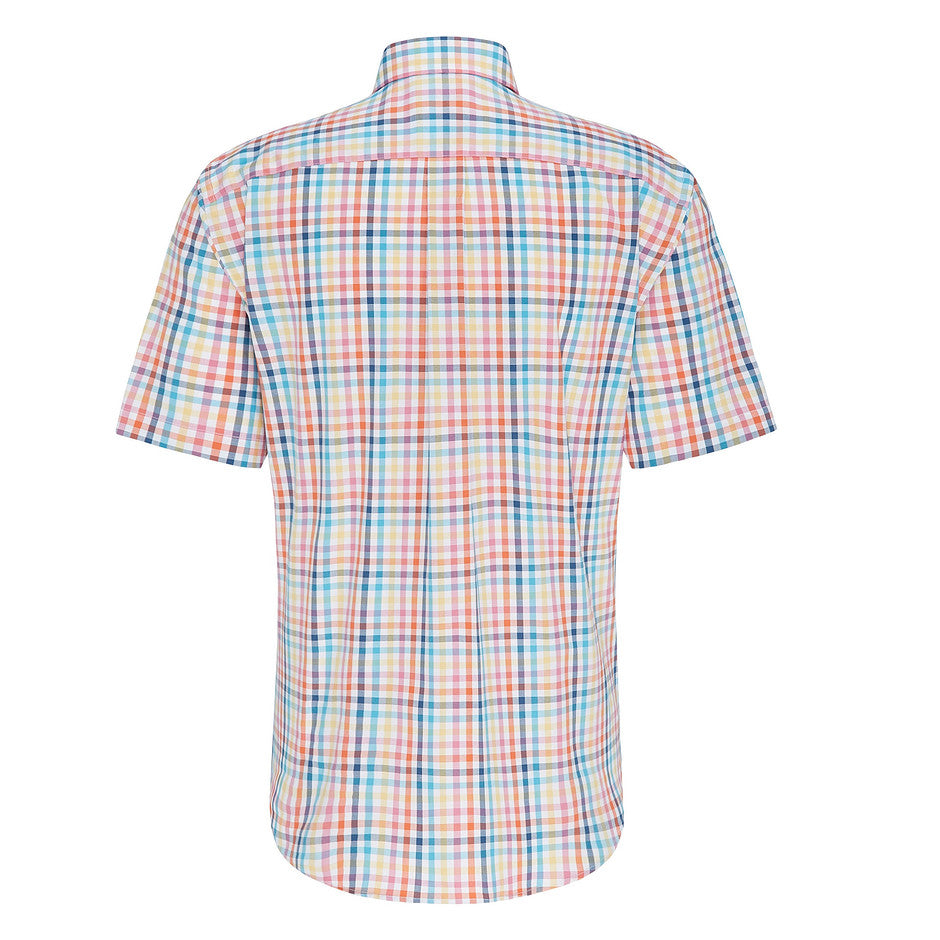 Short Sleeve Multi Colour Check Shirt for Men in Coral
