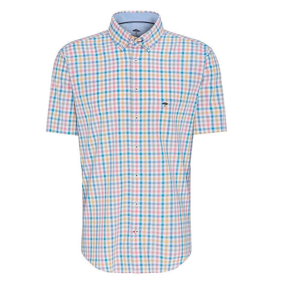 Short Sleeve Multi Colour Check Shirt for Men in Pink