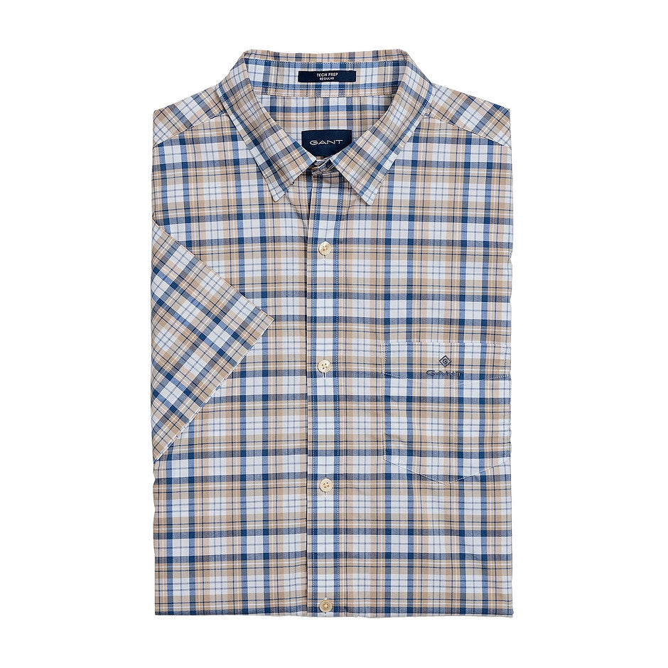 Broadcloth Gingham Short Sleeve Shirt for Men in Brown
