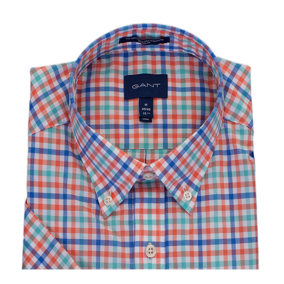Broad Cloth Gingham Short Sleeve Shirt for Men in Coral