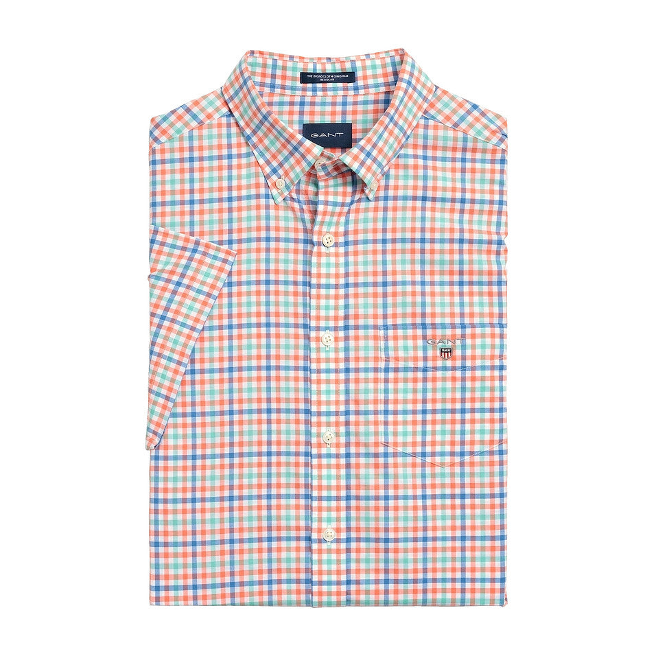 Broad Cloth Gingham Short Sleeve Shirt for Men in Pink