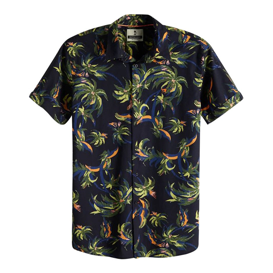 Palm Pattern Shirt for Men in Navy