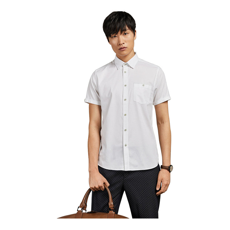 WALLABI Short Sleeve Plain Shirt for Men in White