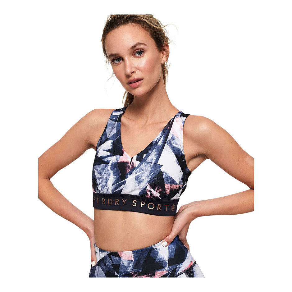 Active Studio Bra for Women in Violet Shard Print
