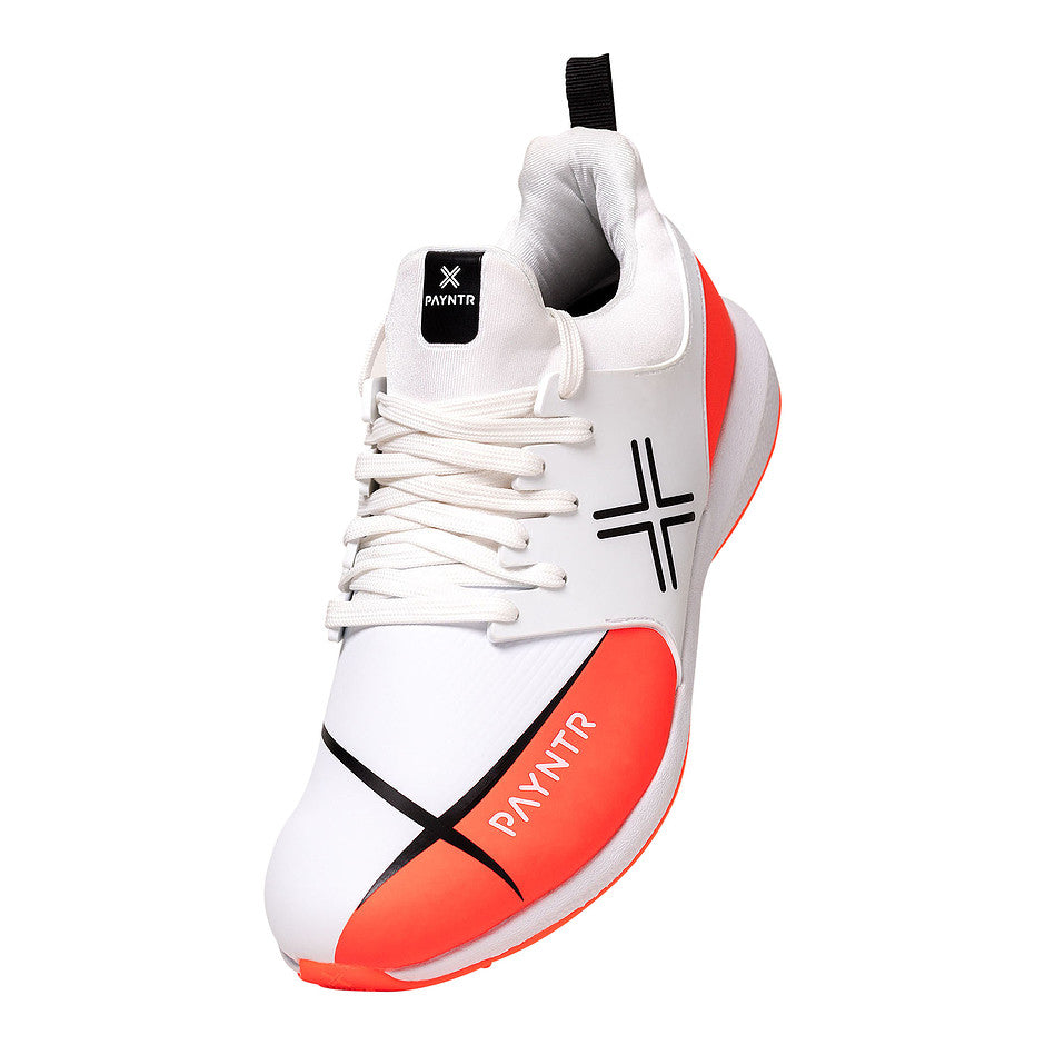 X Mk3 Evo Pimple Cricket Shoes in White and Orange