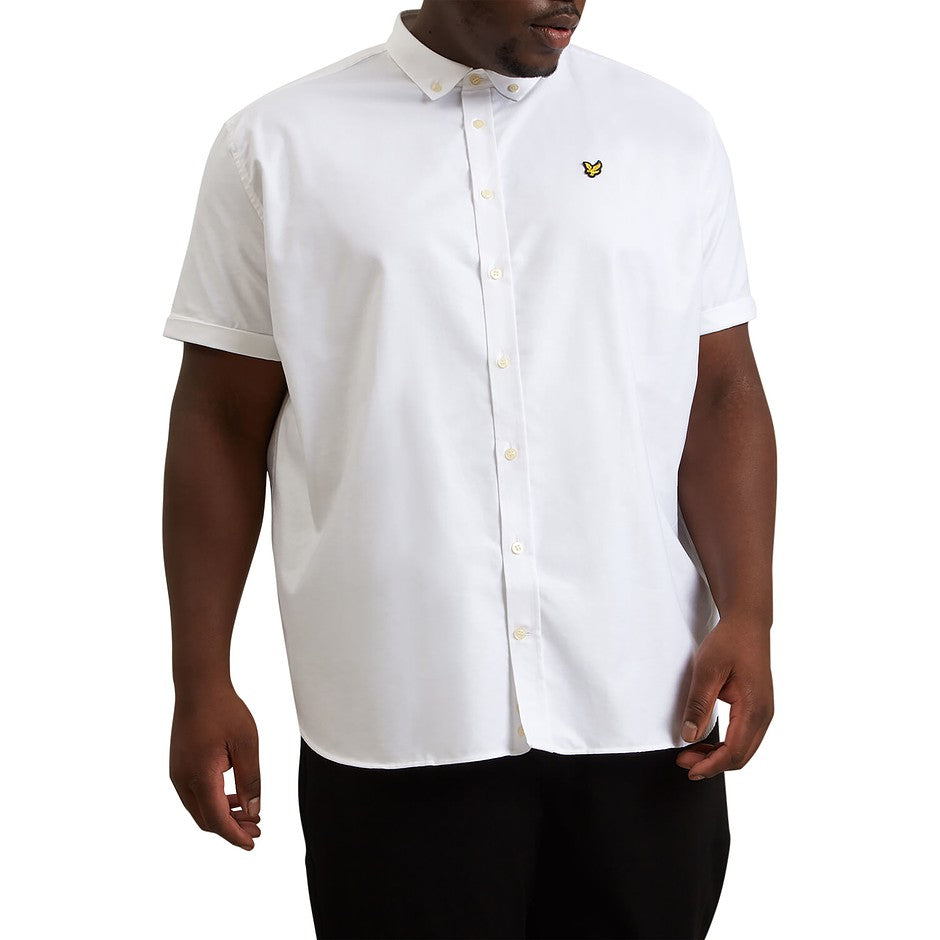 Plain Short Sleeve Oxford Shirt for Men in White