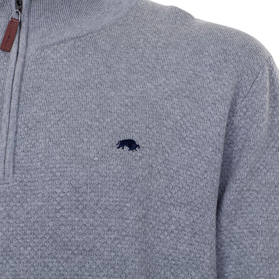 1/4 Zipped Funnel Necked Sweater for Men in Grey