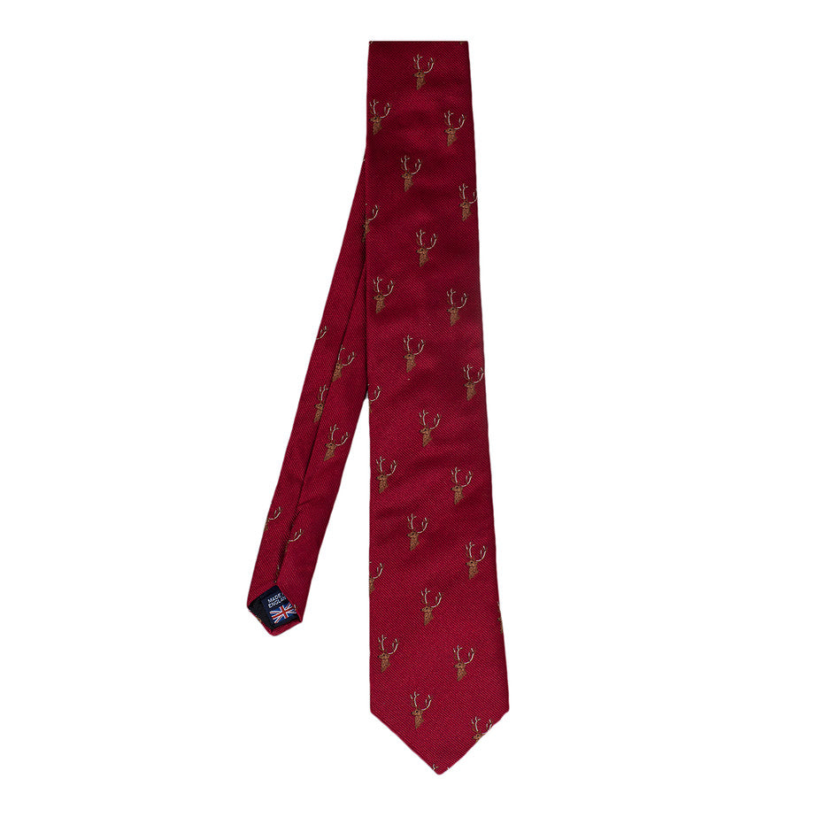 Stag Head Extra Long Tie for Men in Bright Red