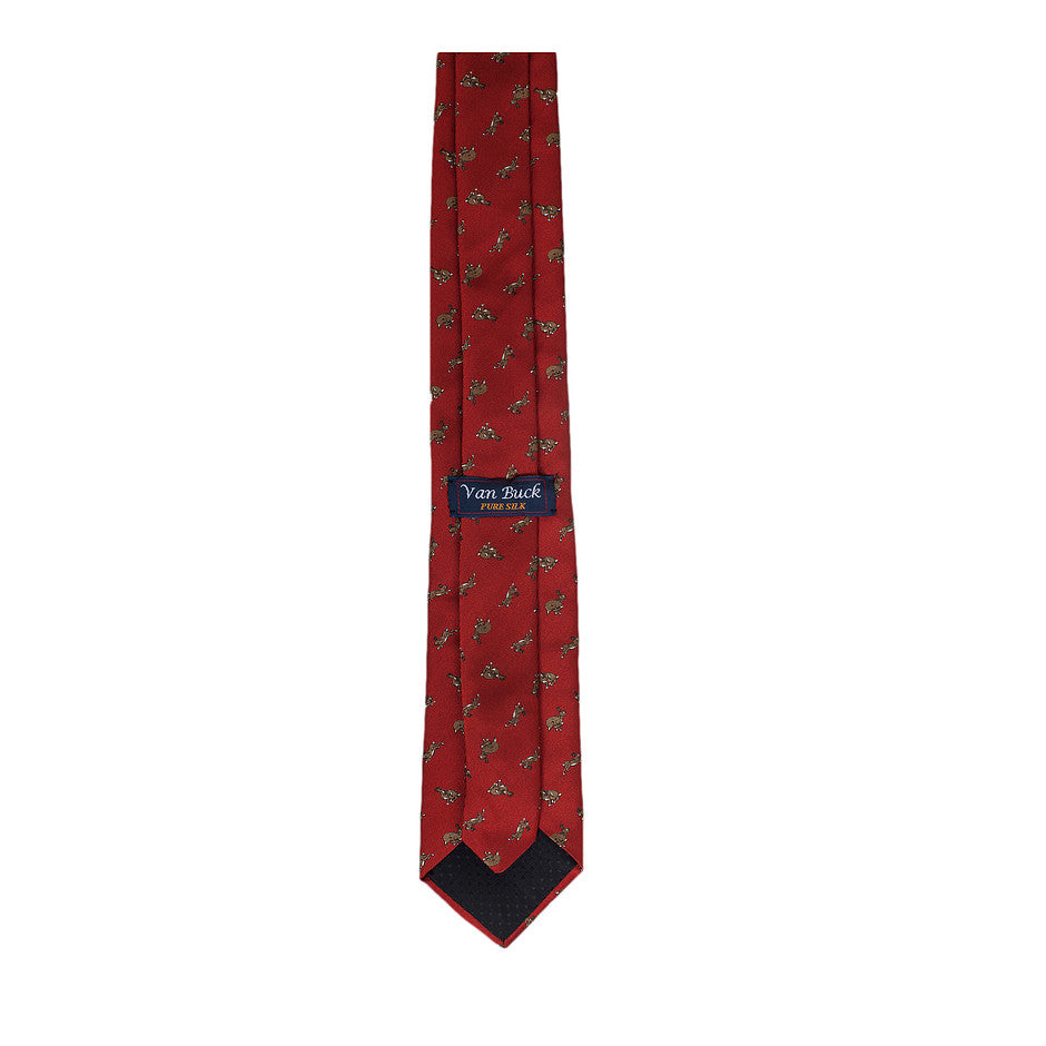 Rabbit Print Extra Long Tie for Men in Deep Red