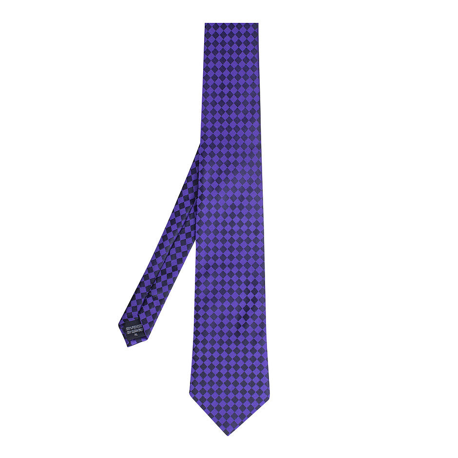 Extra Long Polyester Tie for Men in Purple and Black