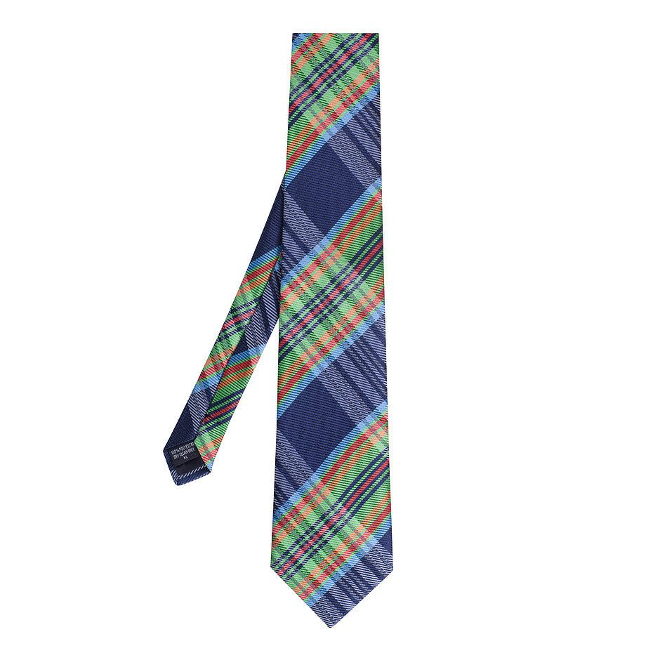 Extra Long Polyester Tie for Men in Check Print