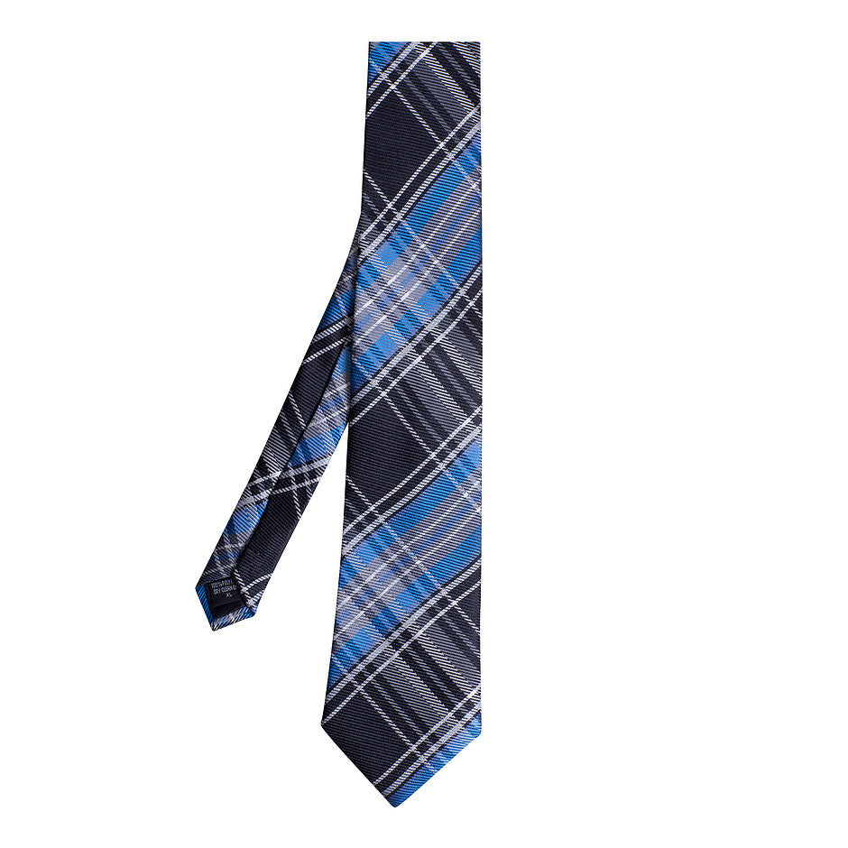 Extra Long Polyester Tie for Men in Blue and Black Check
