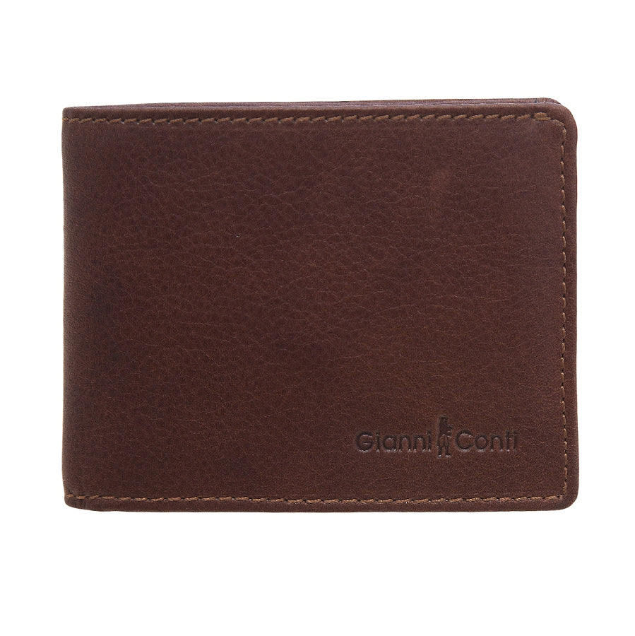 Bi Fold Leather Wallet in Brown