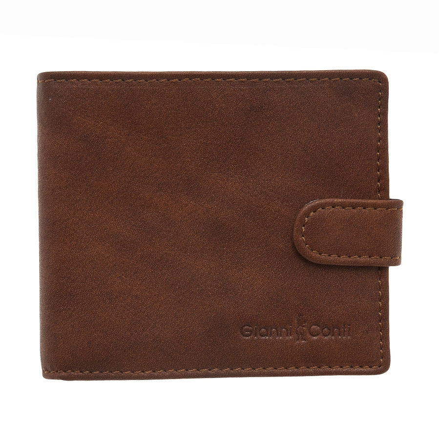 Mens Leather Wallet in Brown with Clasp