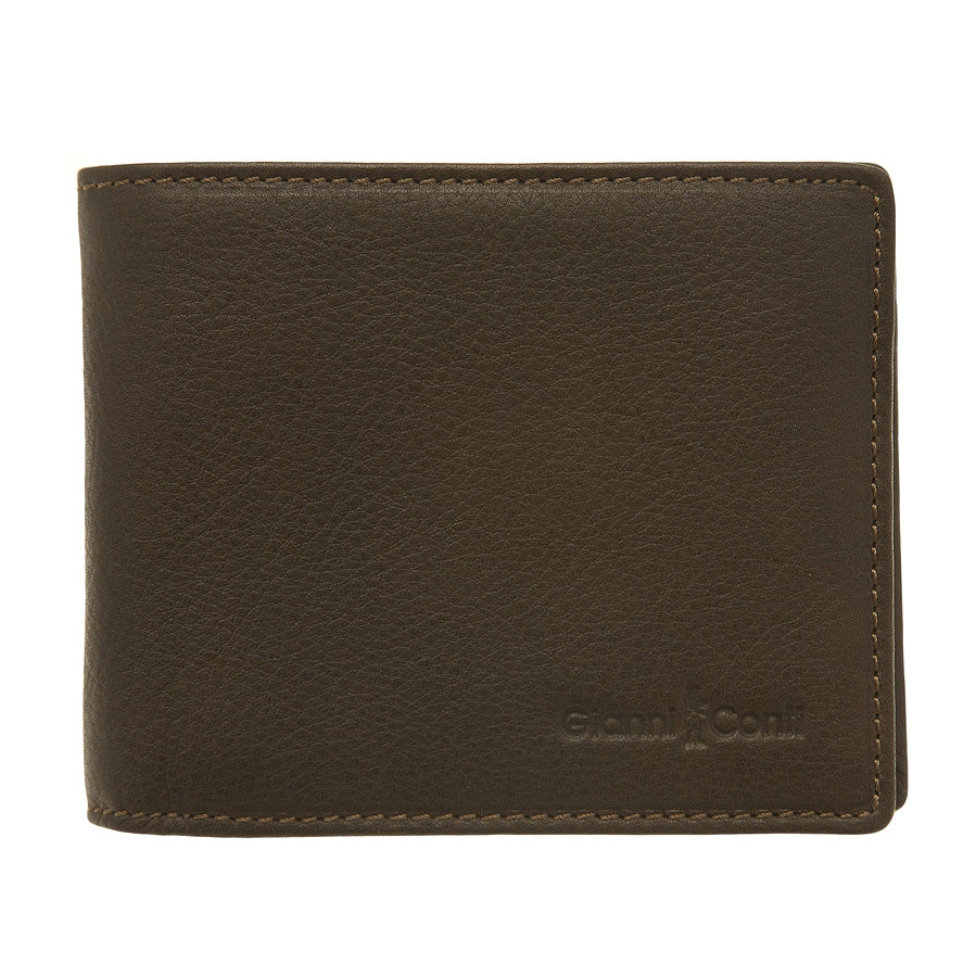 Mens Bi Fold Wallet in Dark Brown