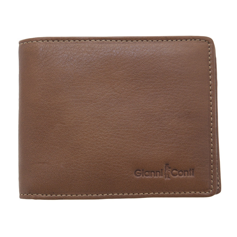 Mens Bi Fold Wallet in Natural Leather