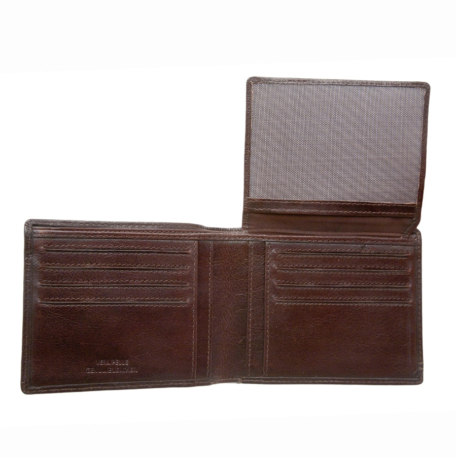 Mens Leather Wallet with Stitch Detail in Brown