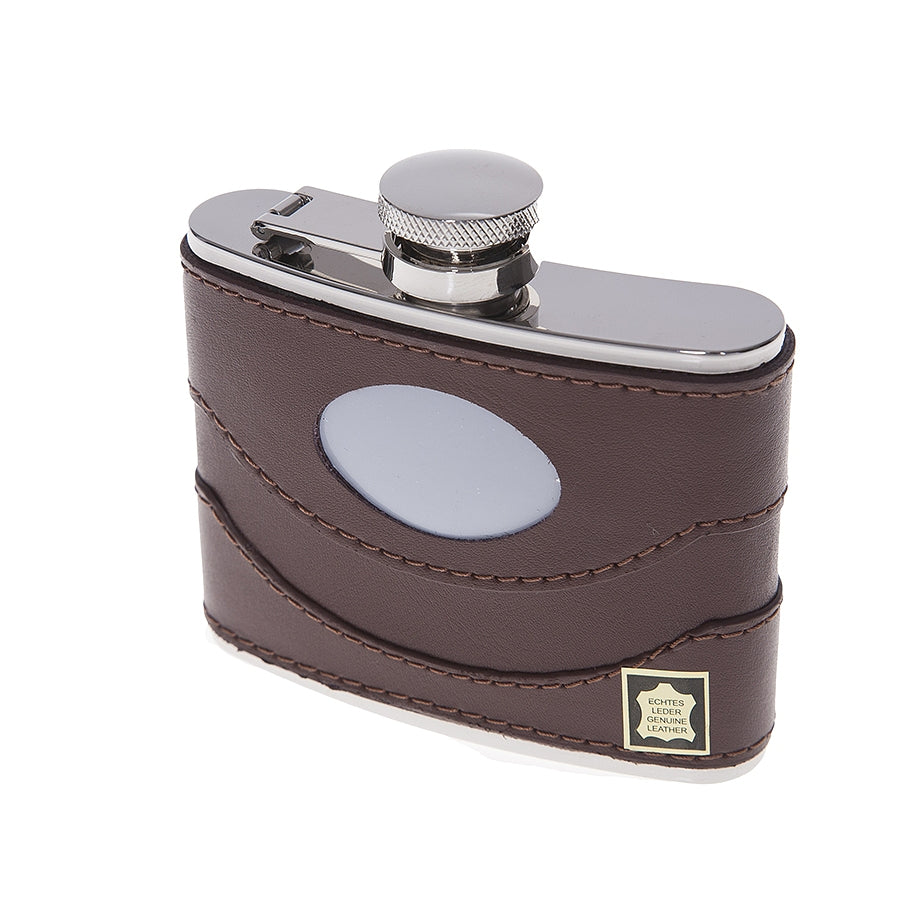 Brown Leather 4 oz Flask