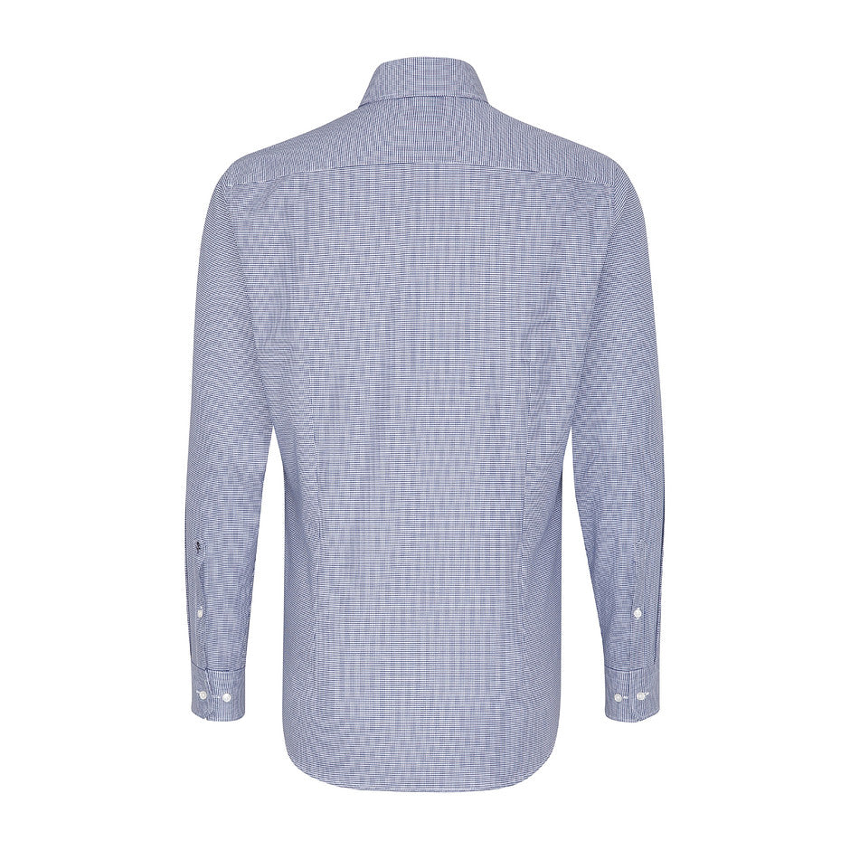 Tailored Fit Formal Shirt for Men in Navy Dogtooth Pattern