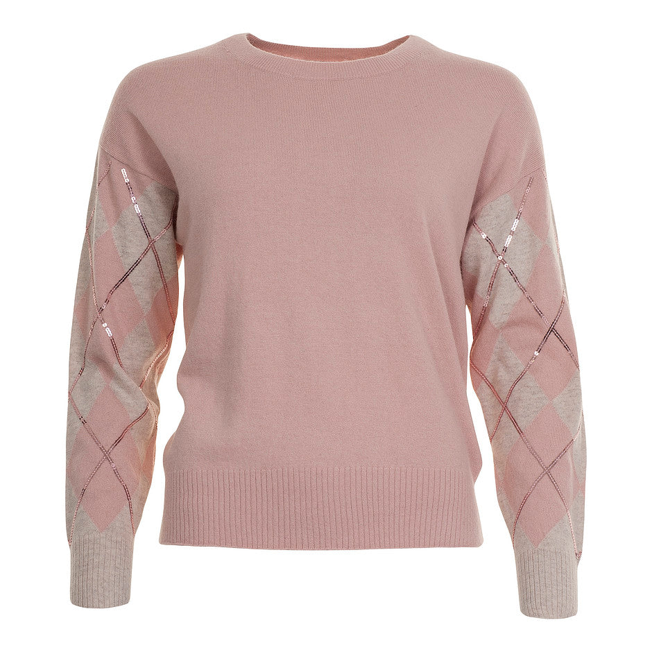 Crow Argyle Sleeve Knit for Women in Rose Pink